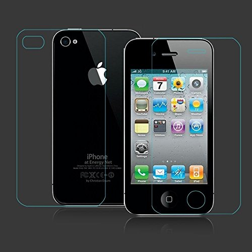 JAIFAON 2 in 1 Apple iphone 4 4s front and back Premium Tempered Glass Screen Protector Scratch Guard Shield (Clear)