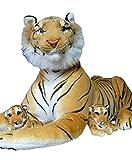 Geschenkestadl 3er Set XL Tiger Mama 1,70m Gesamtlänge mit Babies Plüschtier Familie Baby Kuscheltier Stofftier Raubkatze Braun