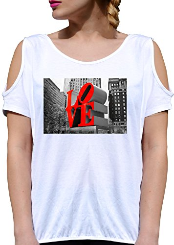T SHIRT JODE GIRL GGG27 Z0489 LOVE LETTERS STATUE CITY RED GRAYSCALE FUN FASHION COOL BIANCA - WHITE