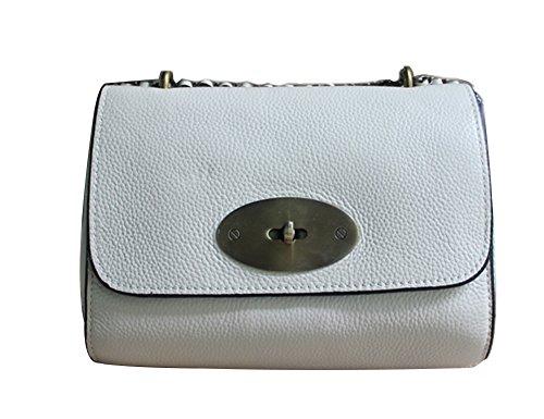 Genda 2Archer Damen Handtasche Mini Crossbody Tasche Schulter Chain Tasche Weiß