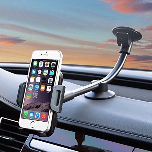 pjp electronics (R) Windscreen Mobile Phone Holder for car with Long Arm for iPhone, Samsung Galaxy