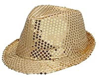 JTC Women Men Glitter Sequins Fedora Trilby Hat Party Jazz Cap (Gold)