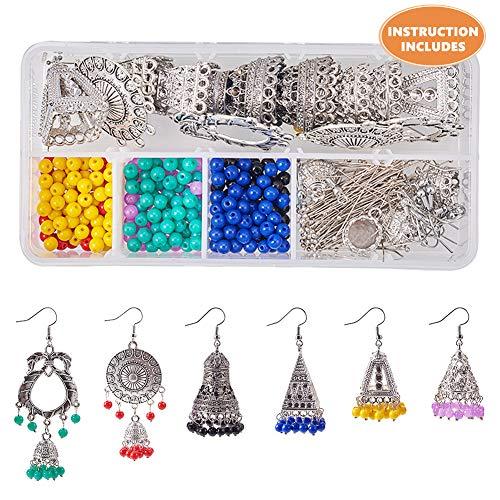 pcs DIY 6 Paare traditionelle ethnische indische jhumka jhumki baumeln Ohrringe Machen kit schmuck Machen kit liefert für anfänger ()