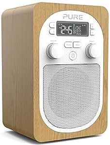 pure evoke h2 portable digital dab dab and fm radio with alarm oak tv. Black Bedroom Furniture Sets. Home Design Ideas