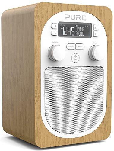 Radio DAB – Pure Evoke H2 – radio numérique portable DAB+/FM – Prise casque – entrée auxiliaire – alarme – 20 présélections – minuteurs de cuisine et de mise en veille – bois/chêne