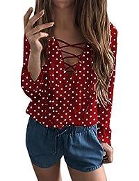 Amazon.fr   Pois - Rouge   Chemisiers et blouses   T-shirts a6bb6de2e4c