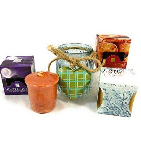 Yankee Candle oder Heart & Home Votivglas Set von 3Kerzen mit 1Kerzenhalter aus Glas portacandela+3 votivi heart&home