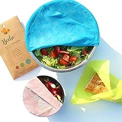 Beelie | Beeswax | 3 Emballages en Cire d'Abeille | Alimentaires Écologiques Réutilisables | 3 Tailles : Petit (20 x 18 cm), Moyen (28 x 25 cm) et Grand (35 x 33 cm) | Lavables et Biodégradables