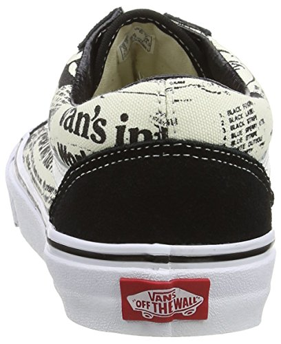 Vans Old Skool, Unisex-Erwachsene Sneakers Schwarz (newsprint/black/white)