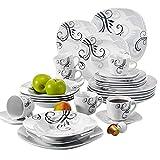 VEWEET Tafelservice 'Zoey' aus Porzellan 30 teilig | Kombiservice beinhatlet Kaffeetassen 175 ml, Untertasse, Dessertteller, Speiseteller und Suppenteller| Komplettservice für 6 Personen