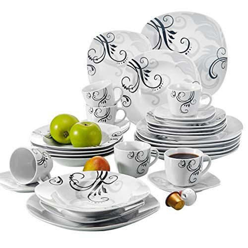 Veweet ZOEY 30pcs Service de Table Porcelaine 6pcs Assiette Plate/Assiette à Dessert/Assiette Creuse/Tasse avec Soucoupes pour 6 Personnes Vaisselles Céramique Design Moderne Fleuri