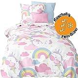 Aminata kids süße Biber- Bettwäsche Einhorn-Motiv Mädchen 100x135 cm + 40 x 60 cm aus Baumwolle mit Reißverschluss, unsere Kinderbettwäsche mit Unicorn-Motiv ist warm, weich & kuschelig, Regenbogen