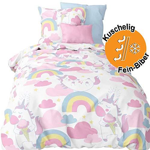 Aminata Kids Biber Bettwäsche Einhorn 100x135 cm + 40 x 60 cm aus Baumwolle mit Reißverschluss, unsere Kinderbettwäsche mit Unicorn-Motiv ist weich und kuschelig (Kid Flanell-bettwäsche)