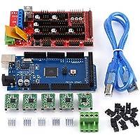 RAMPS 1.4 Steuerpult + MEGA2560 R3 Brett + 5pcs gelötet A4988 Schrittmotor-Fahrer + 5pcs Kühlkörper + 19pcs Jumper mit USB-Kabel für Arduino RepRap 3D Druckersatz
