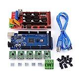Asixx 3D Printer Drucker Kit, 3D Drucker Zubehör RAMPS 1.4 Steuerpult,MEGA2560 R3 Brett,5pcs Gelötet A4988 Schrittmotor-Fahrer,5pcs Kühlkörper,19pcs Jumper mit USB-Kabel
