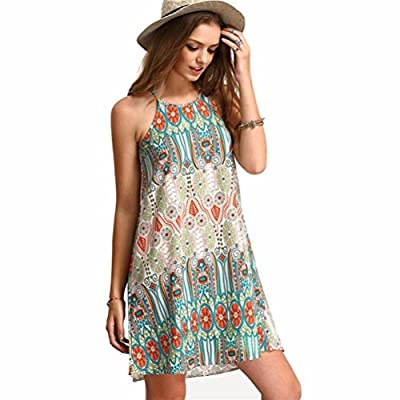 KEERADS Women Retro Sleeveless Party Summer Beach Short Mini Dress