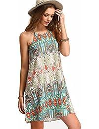 KEERADS Dresses, Women Retro Sleeveless Party Summer Beach Short Mini Dress