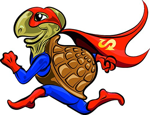 (Etaia 10x13 cm Lustiger Auto Aufkleber rennende Schildkröte Supermann Funny Cool Cartoon Sticker Motorrad)