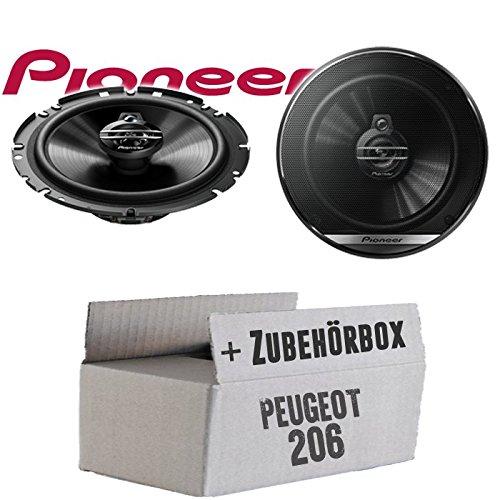 Lautsprecher Boxen Pioneer TS-G1730F - 16cm 3-Wege Koax Paar PKW 300WATT Koaxiallautsprecher Auto Einbausatz - Einbauset für Peugeot 206 - JUST SOUND best choice for caraudio
