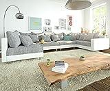 DELIFE Couch Clovis modular - Ecksofa, Sofa, Wohnlandschaft & Modulsofa (Grau/Weiss, Sofa XL mit Armlehne)