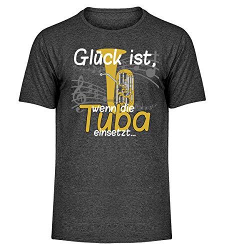 Glück ist, wenn die Tuba einsetzt - für Tubistinnen und Tubisten, die Blasmusik lieben - Herren Melange Shirt -L-Dunkelgrau Meliert
