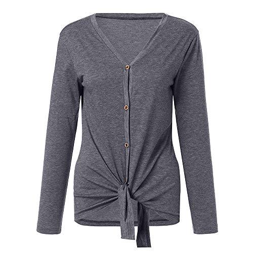 CICIYONER Frauen V-Ausschnitt mit Langen Ärmeln Button-Down-Krawatte vorne Knoten beiläufige lose T-Shirt Tops S-XL