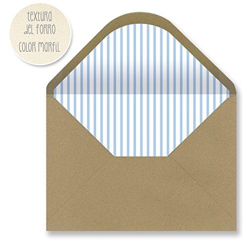Sobres forrados invitaciones - KRAFT RAYAS 229x162 mm. (azul claro)