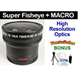 UltraPro 55mm 0.16x HD ULTRA-WIDE Panoramic Fisheye Macro Lens For Select Nikon Digital Cameras. UltraPro Bundle Includes: Mini Travel Tripod, Deluxe Cleaning Kit, LCD Camera Screen Protectors