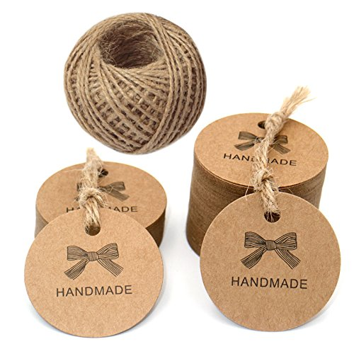 Handmade Tags,100 PCS Kraft Paper Hang Tags, 4.5 CM Craft Gift Tags with 100 Feet Jute Twine