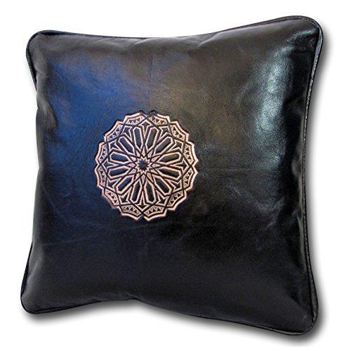 ALMADIH Lederkissen L schwarz 35x35 cm aus Lammleder - 100% traditionelle Handarbeit - echtes Leder Kissen Dekokissen Zierkissen Sofakissen orientalische Kissen inkl. Füllung (Kissen L schwarz) - Leder Traditionellen Sofa