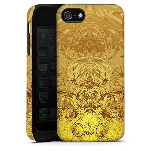 Apple iPhone 5s Housse Étui Protection Coque Or Motif Motif Cas Tough terne