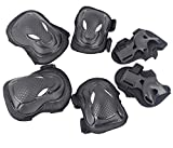 Adult Sports Protective Knee Pads, Eruner Knee Elbow Pads Supports Palm Wrist Guards for Skateboarding Inline Roller Skating BMX Mountain Biking Gear of 6 Pack, Unisex Cool Black