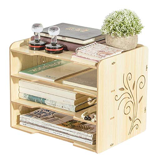 Zichen Seven Life DIY Multi-Function Desk Organizer Office Supply File Rack,Paper/Book/Notbook Storage Case (Pattern : Pink Kitty) (Color : Oak Color)