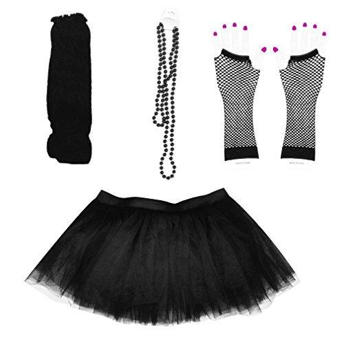 Dreamdanceworks Damen 0er-Fantasie-kostüm Set - Tutu & Bein mers & Netz-Handschuhe & Beads Schwarz One (St Pattys Tag Kostüm)