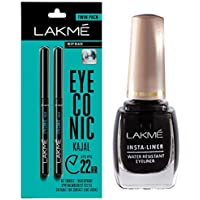 Lakme Eyeconic Kajal Twin Pack, Black, 0.35g with 0.35g & Lakme Insta Eye Liner, Black, 9ml