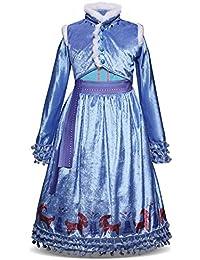 AmzBarley Vestido Princesa Niña Fiesta,Traje Precioso Princesa Chulo Disfraz Disfraces Chicas Frozen Elsa Manga Larga para Halloween Cosplay Carnaval