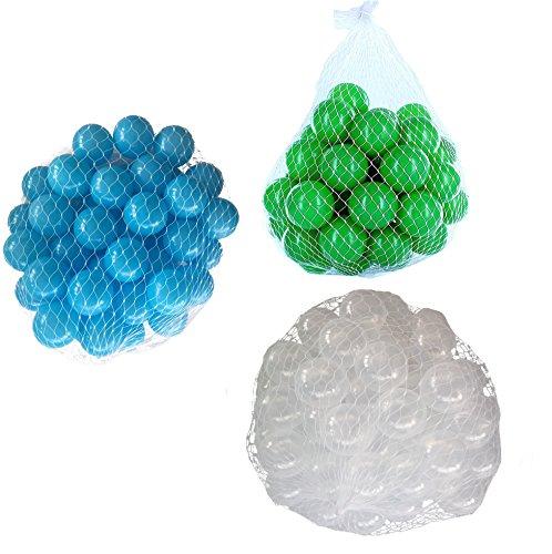 900 Bälle für Bällebad gemischt mix mit türkis, transparent und grün