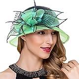 Ruphedy Königliche Ascot Derby Cloche Hüte der Frauen Britische Kirchen-Kleid-Tee-Party Eimer Hut S051 (S606-Grün)