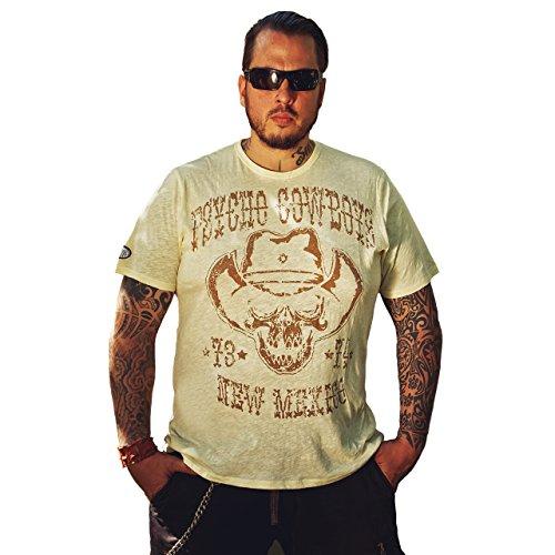 "DYSTROY \""Psycho Cowboys Premium T-Shirt/Regular Fit - Rundhals T-Shirt / (XXXL, Dirty White)"