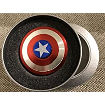 Nob Hill Premium Aluminium Ultra High Speed Double Sided Captain America Shield Figet Spinner For Kids & Adults - Multi Color