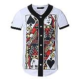Yonbii Homme court mince Baseball uniforme décontractée pour homme Poker Cardigan Manteau TOPS M-3X L - -