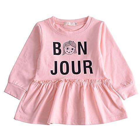 BOBORA Bebe Filles Robe Manches Longues en Coton avec Bonjour Impressions 0-4Ans