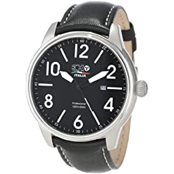 3H Men's Black Band White Stitching Water Resistant Date Watch