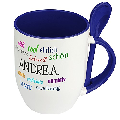 Löffeltasse mit Namen Andrea - Positive Eigenschaften von Andrea - Namenstasse, Kaffeebecher, Mug, Becher, Kaffeetasse - Farbe Blau