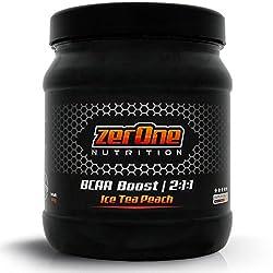 ZerOne Bcaa Boost Hochdosiertes Pulver Aminosäuren Leucin Isoleucin Valin 2:1:1 Deutsche Premium Qualität Fitness Sport 500g (Ice Tea Peach)