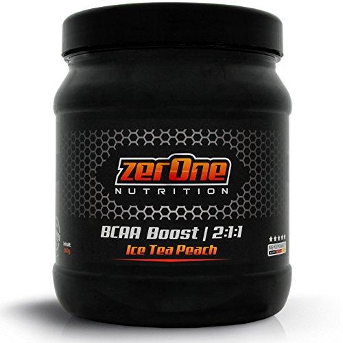 ZerOne Bcaa Boost Hochdosiertes Pulver Aminosäuren Leucin Isoleucin Valin 2:1:1 Deutsche Premium Qualität Fitness Sport 500g (Ice Tea Peach) - Line-booster-fan