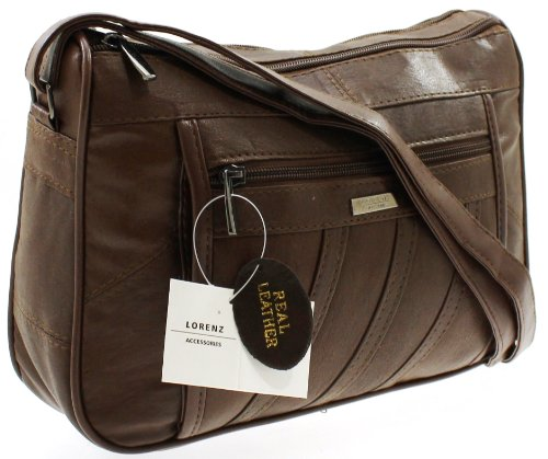WOMENS DESIGNER GENUINE REAL LEATHER SHOULDER CROSS BODY HAND BAG BROWN