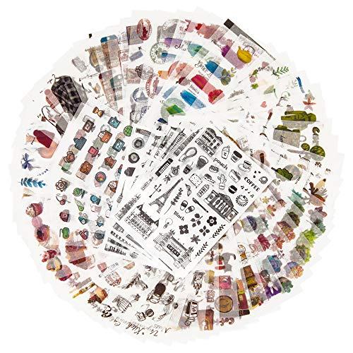 Dekoration Sticker Pack für Kinder Erwachsene 1500+ Designs 72 Blätter 12 Themen Washi Paper Aufkleber Sortiert Decor Aufkleber Selbstklebende Aufkleber Graffiti Patches (Freizeit Leben) -
