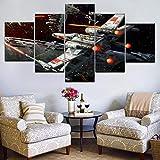 XLST Componibile Pittura Manifesto Stampare 5 Pezzi Guerre Stellari Navicella Spaziale Tela Immagine Cenare Camera Wall Art Decorazione,B,20X35X220X45X220X55X1