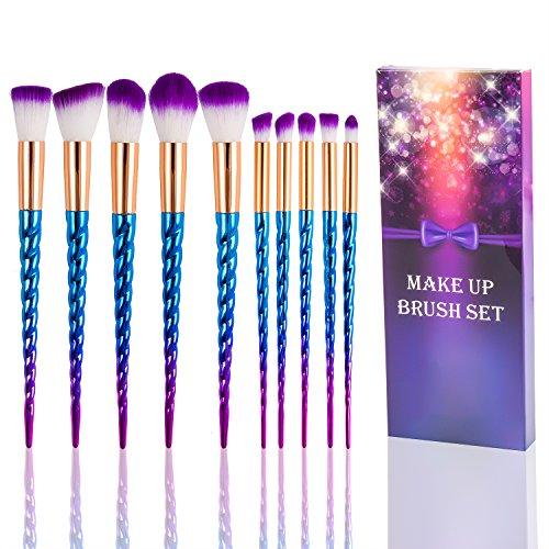 Fashion Base® Professional Premium Maquillage Brushes-10pcs synthétique souple dégradé de Rainbow Unicorn Cosmetics Lot Tools-face, poudre, contour, Surligneur, liquide, fond de teint, Correcteur, Ombres à paupières, brosse à sourcils kit Cadeau pour elle